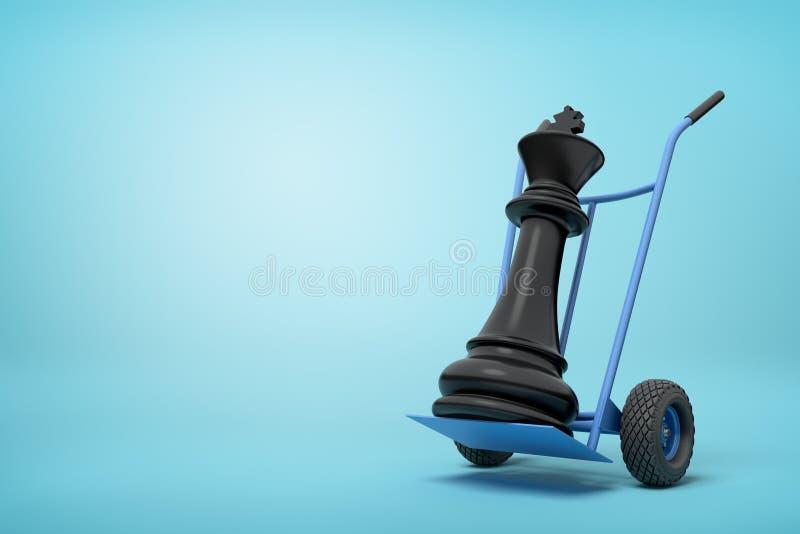 Wiedergabe der Nahaufnahme 3d schwarzen Schachkönigs auf blauem Hand-LKW auf hellblauem Hintergrund lizenzfreies stockbild