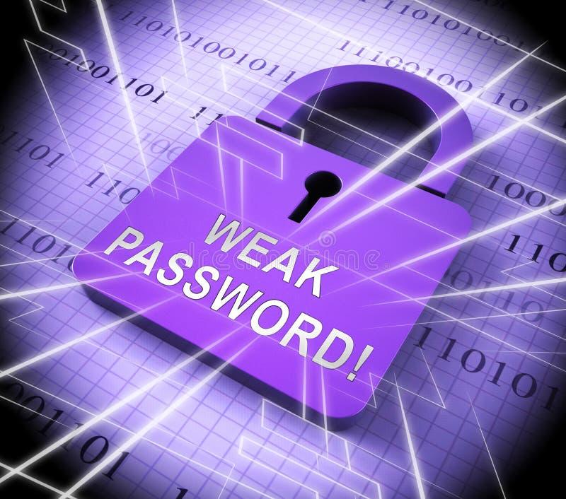 Wiedergabe der Passwort-schwache Hacker-Eindringen-Drohungs-3d lizenzfreie abbildung
