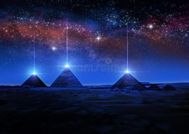 Wiedergabe der Sciencefiction 3D oder Illustration von ?gyptischen Pyramiden nachts helle Strahlen von den Spitzen schie?end vektor abbildung