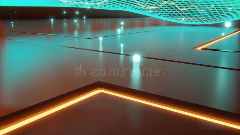 Wiedergabe der Sciencefiction 3d von futuristischen Formen und von Mustern, die in mitten in der Luft mit Neonlichtern und Flugte stock abbildung