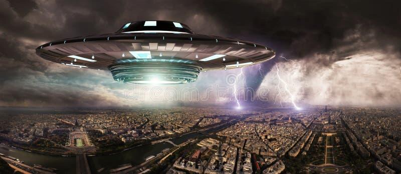 Wiedergabe der UFO-invasionover Planetenerdstadt 3D lizenzfreie abbildung