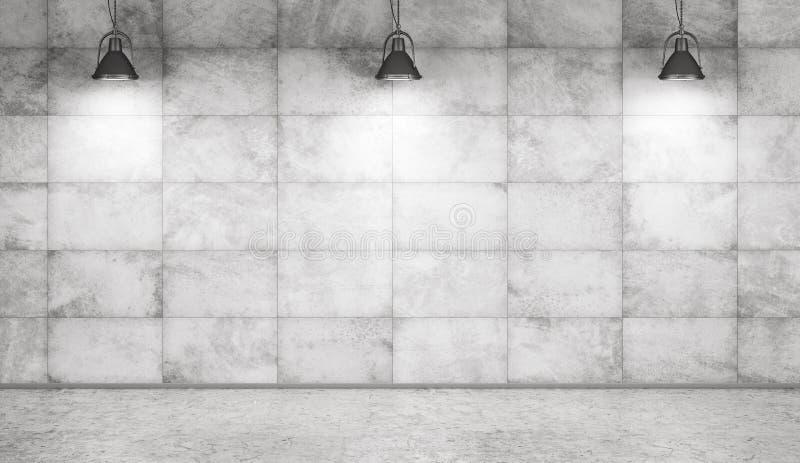 Wiedergabe des Betonmauer- und Bodeninnenhintergrundes 3d lizenzfreie abbildung