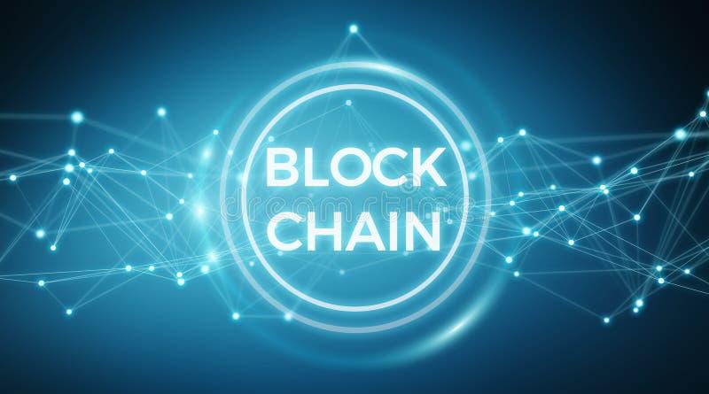 Wiedergabe des Blockchain-Verbindungshintergrundes 3D stock abbildung