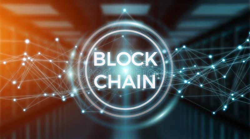 Wiedergabe des Blockchain-Verbindungshintergrundes 3D vektor abbildung
