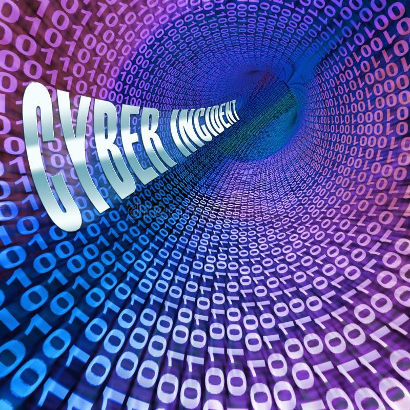 Wiedergabe des cyber-Vorfall-Daten-Angriffs-Alarm-3d stock abbildung