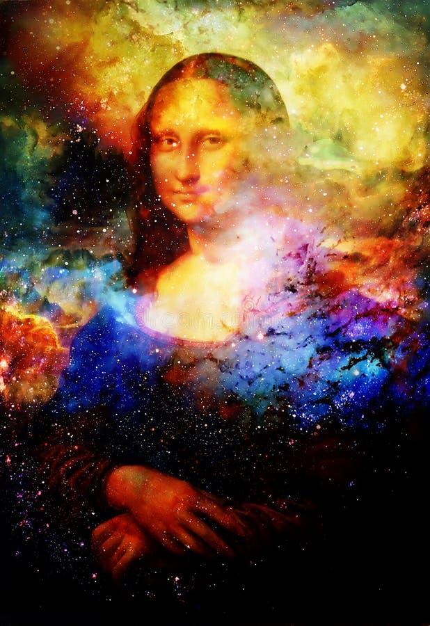 Wiedergabe des Malens von Mona Lisa durch Leonardo da Vinci im kosmischen Raum stockfotografie