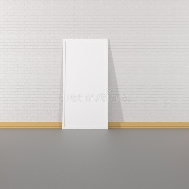Wiedergabe des modernen leeren Innenraums mit großem Bilderrahmen vektor abbildung