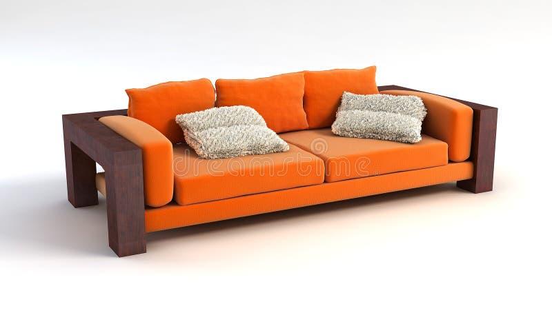 Wiedergabe des Sofas 3D lizenzfreie abbildung