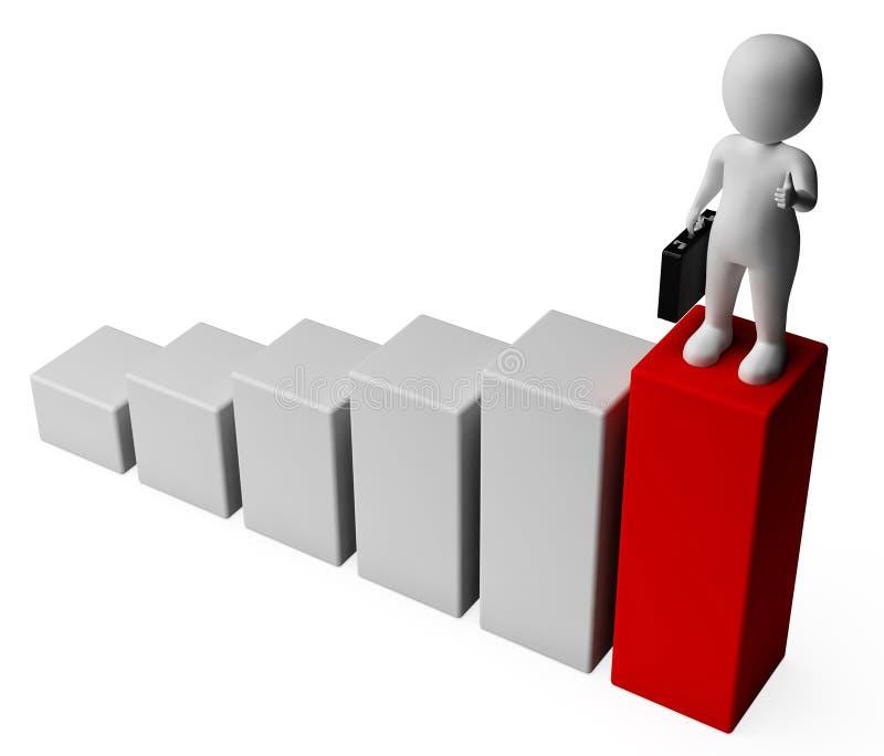 Wiedergabe Diagramm-Erfolgs-Show-Geschäfts-Person And Advances 3d lizenzfreie abbildung