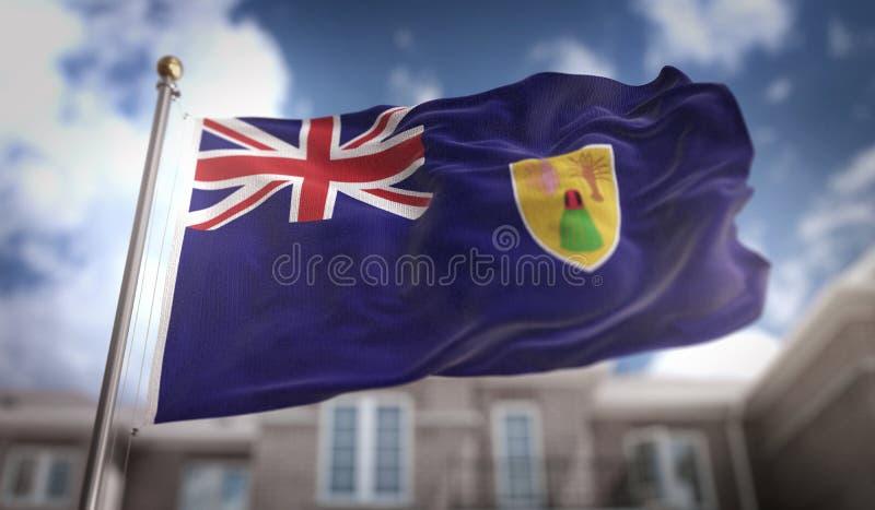 Wiedergabe die Turks- und Caicosinseln-der Flaggen-3D auf blauer Himmel-Gebäude lizenzfreie abbildung