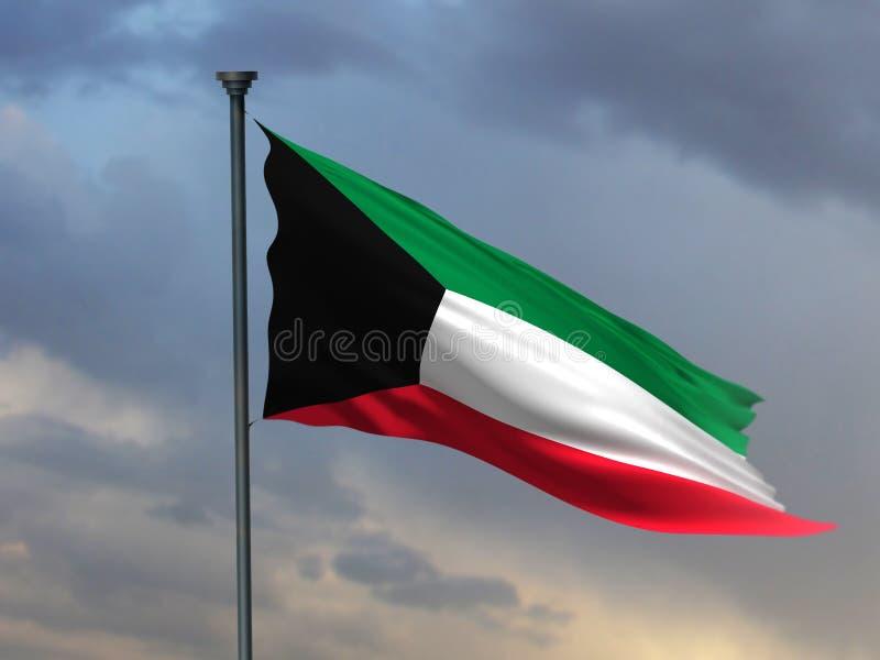 Wiedergabe Flagge 3D Kuwaits 3D stock abbildung
