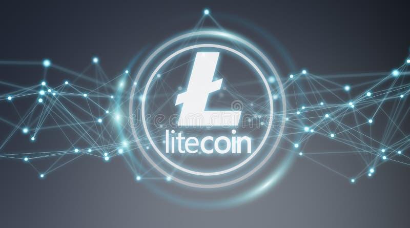 Wiedergabe Litecoins-cryptocurrency Hintergrundes 3D lizenzfreie abbildung