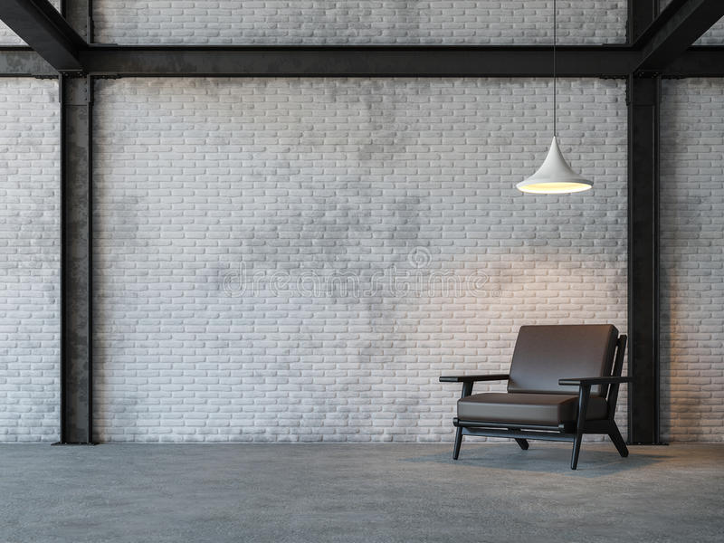 Wiedergabebild des Dachbodenartwohnzimmers 3d lizenzfreie abbildung