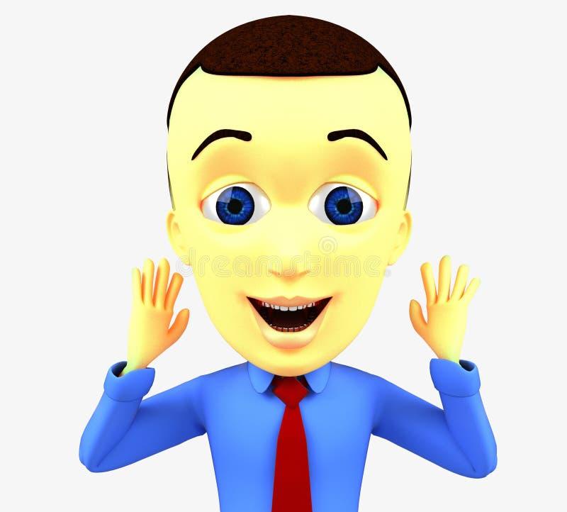 Wiedergabeillustration des Charakters 3D eines jungen Geschäftsmannes stock abbildung