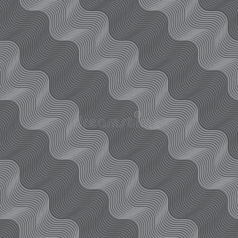 Wiederholen des diagonalen Lichtes der Verzierung und des dunkelgrauen gewellten stock abbildung