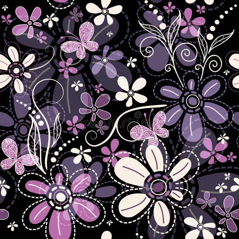 Wiederholen des dunklen Blumenmusters lizenzfreie abbildung