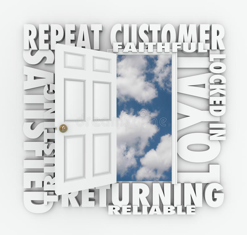 Wiederholen Sie zuverlässigen Kunden Loyal Satisfied Customer Open Doors stock abbildung