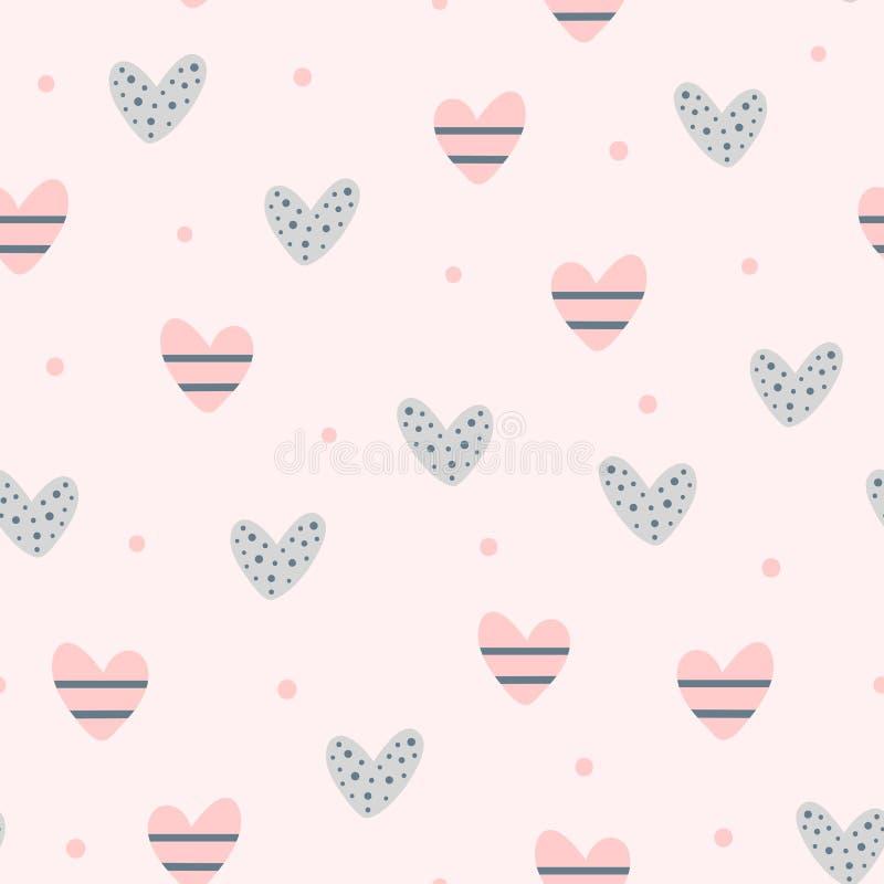 Wiederholen von netten Herzen und von runden Punkten Romantisches nahtloses Muster lizenzfreie abbildung