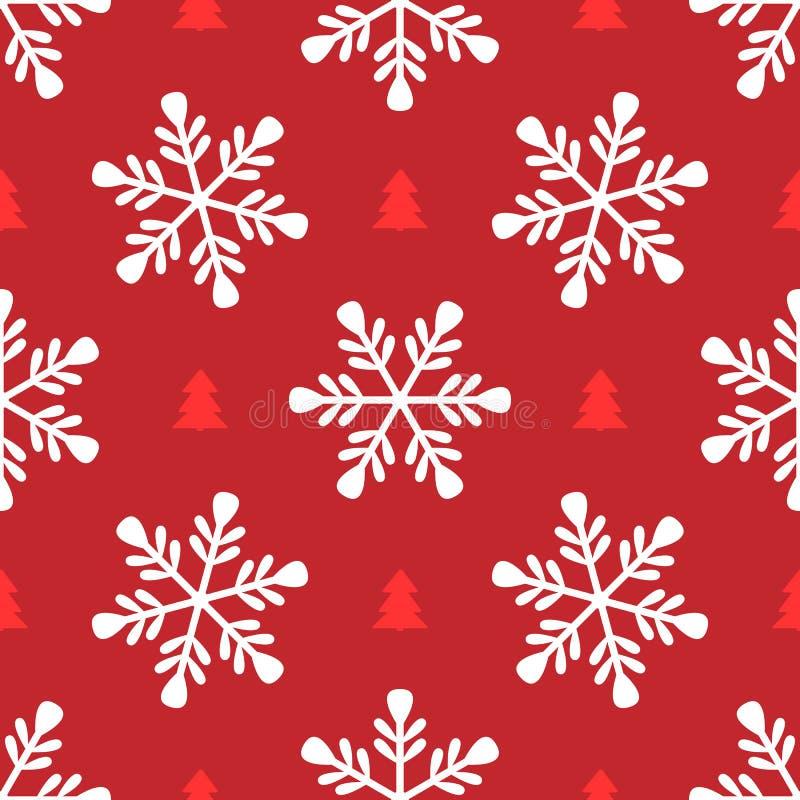 Wiederholen von Schneeflocken und von Schattenbildern von Weihnachtsbäumen Einfaches nahtloses Muster für Entwurf des neuen Jahre lizenzfreie abbildung