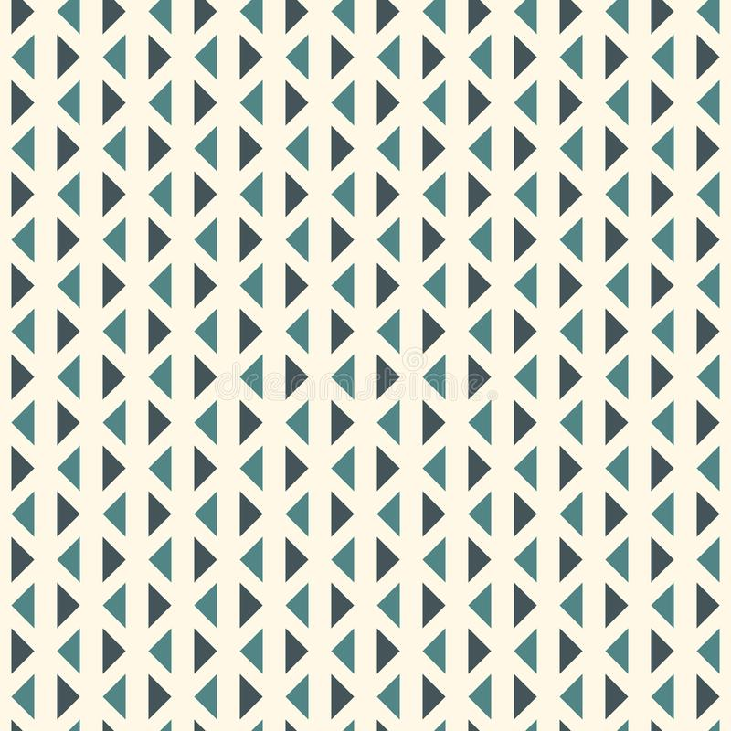 Wiederholte Dreiecke auf weißem Hintergrund Einfache abstrakte Tapete Nahtloses Musterdesign mit geometrischen Zahlen stock abbildung