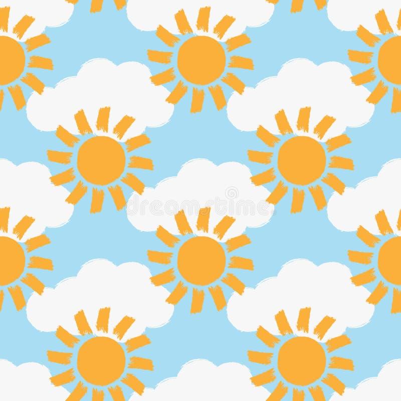 Wiederholte Wolken und Sonnen gemalt mit einer rauen Bürste Farbnahtloses Muster vektor abbildung
