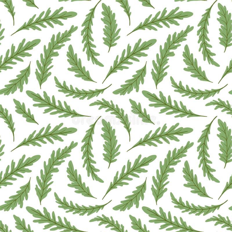 Wiederholter Hintergrund des grünen Salats Nahtloses Muster mit frischen grünen Blättern von ruccola Auch im corel abgehobenen Be stock abbildung