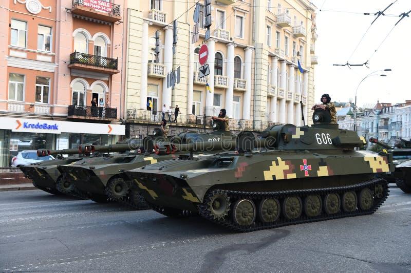 Wiederholungen für Militärparade Unabhängigkeitstag in Kiew, Ukraine lizenzfreies stockfoto