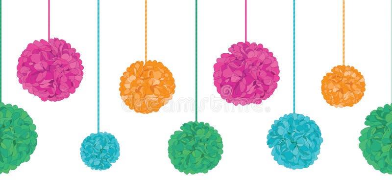 Wiederholungs-Grenzmuster Vektor-vibrierendes buntes Geburtstagsfeier-Papier-Pom Poms Set On Stringss horizontales nahtloses groß stock abbildung
