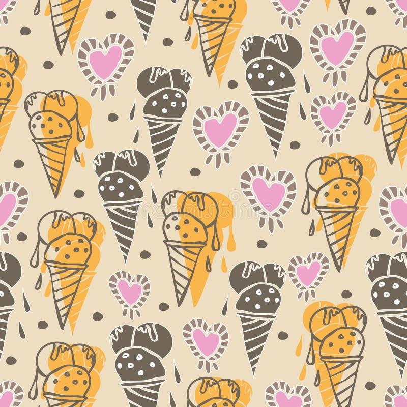 Wiederholungs-Musterillustration der Eis-Creme-süßen Träume nahtlose Hintergrund in Gelbem, im Rosa, Sahne- und braun lizenzfreie abbildung