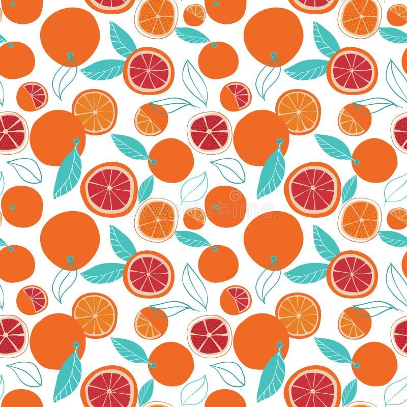 Wiederholungsmuster der bunten geschmackvollen Orangen des Vektors nahtloses auf weißem Hintergrund vektor abbildung