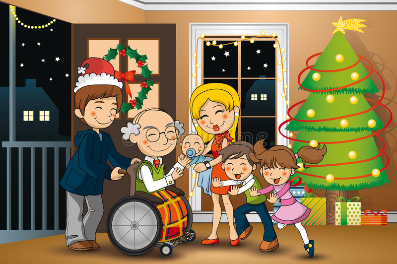 Wiedervereinigende Familie auf Weihnachten stockfotos