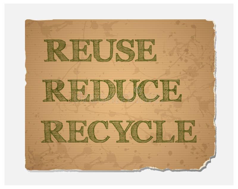 Wiederverwendung-Verringern-bereiten Sie Text auf Recyclingpapierbeschaffenheit auf lizenzfreie abbildung