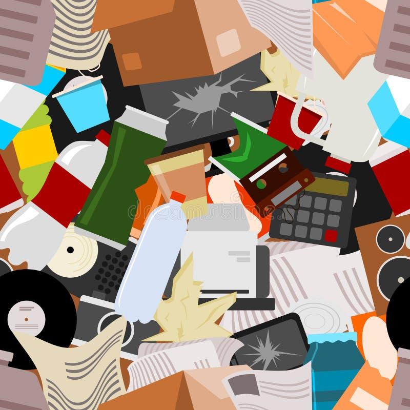 Wiederverwertung der überschüssigen nahtlosen Mustervektorillustration Abfall, der die Lebensmittelabfälle, Glas, Metall und Papi stock abbildung