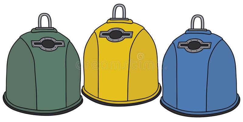 Wiederverwertung von Abfallbehältern lizenzfreie abbildung