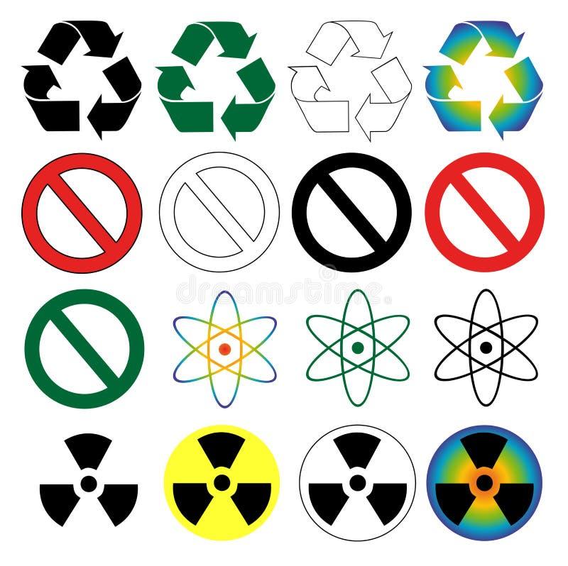 Wiederverwertung, Warnen, Gefahr und Wissenschaftssymbole. lizenzfreie abbildung