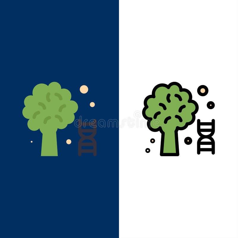 Wiedza, Dna, nauka, Drzewne ikony Mieszkanie i linia Wypełniający ikony Ustalony Wektorowy Błękitny tło royalty ilustracja