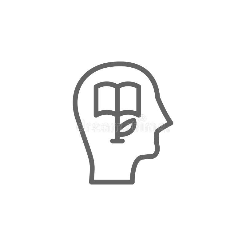 Wiedza, głowa, ikona książki Element ilustracji bioinżynierii Ikona cienkiej linii do projektowania i projektowania witryn intern royalty ilustracja
