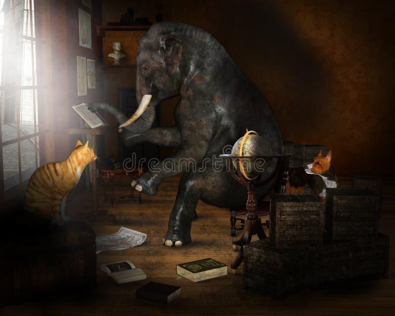 Wiedza, nauka, edukacja, uczenie, słoń ilustracja wektor