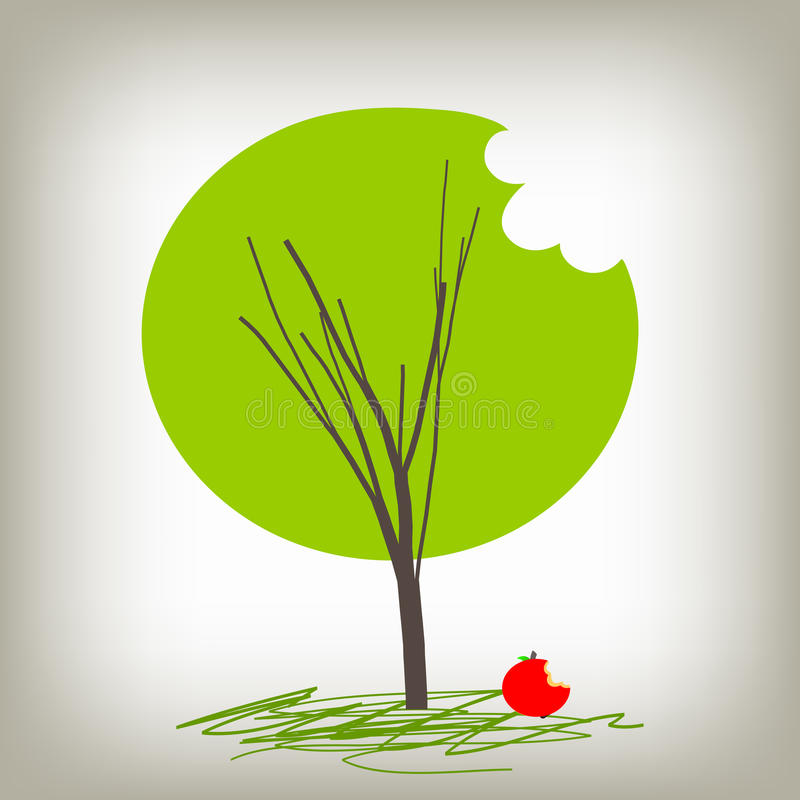 wiedzy jabłczany drzewo royalty ilustracja