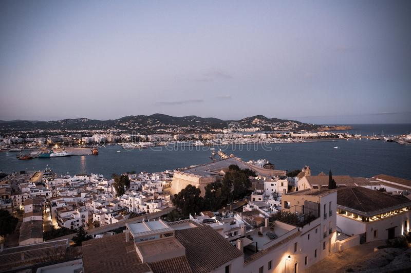 Wief of Marina Botafoch from Ibiza`s medieval age old town and fortress Dalt Vila, in Ibiza Town.  royalty free stock photography