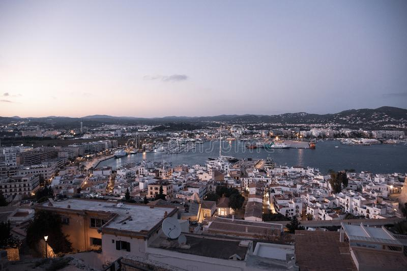 Wief of Marina Botafoch from Ibiza`s medieval age old town and fortress Dalt Vila, in Ibiza Town.  royalty free stock image