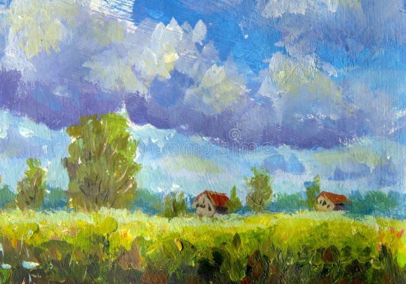 Wiejscy domy z czerwień dachem, ampuł chmury, zieleni drzewa, trawa Lato wiejski krajobraz z akrylową nafcianą kanwą royalty ilustracja