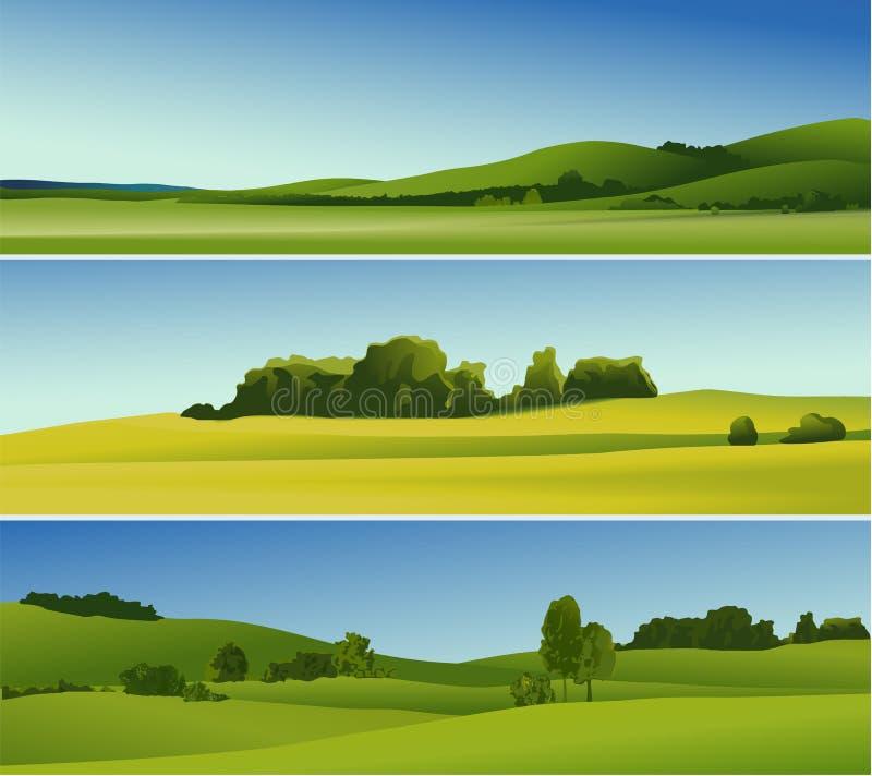Wiejscy krajobrazowi sztandary royalty ilustracja