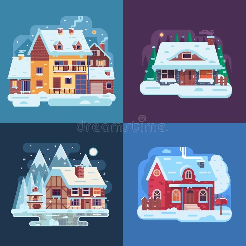 Wiejscy zima domy i kabina krajobrazy ilustracja wektor