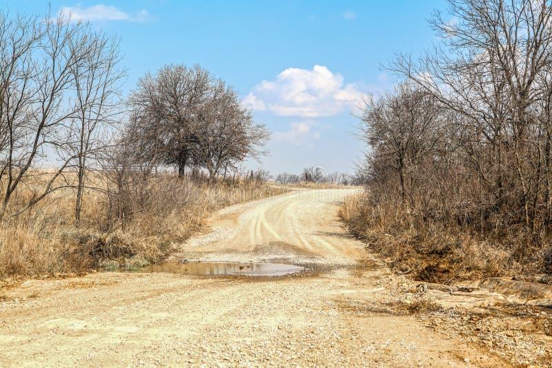Wiejska brud droga w zimie z borowinowej kałuży rozciąganiem przez niskiego punkt i nagich drzewa przeciw niebieskiemu niebu obrazy royalty free