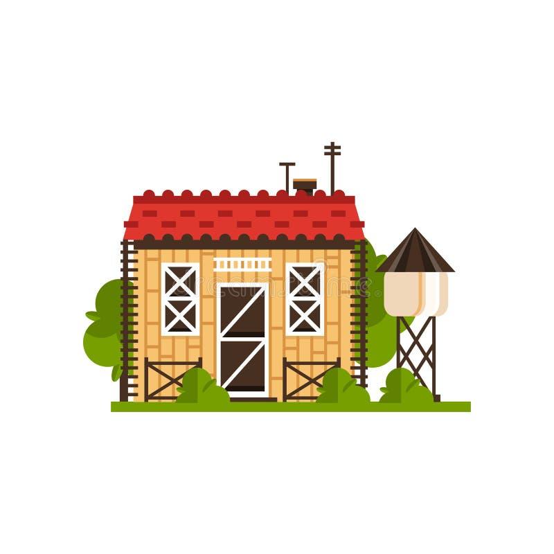 Wiejska chałupa i wieża ciśnień, wsi budowy wektorowe ilustracje na białym tle ilustracja wektor