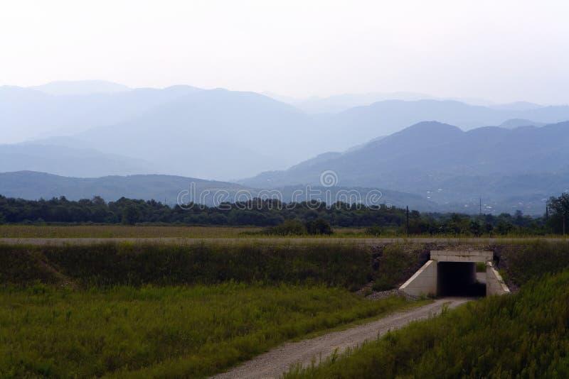 Wiejska droga prowadzi mały tunel obrazy royalty free