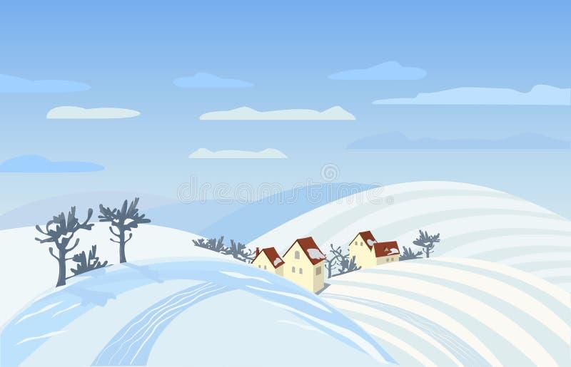 wiejska krajobrazowa zimy ilustracja wektor