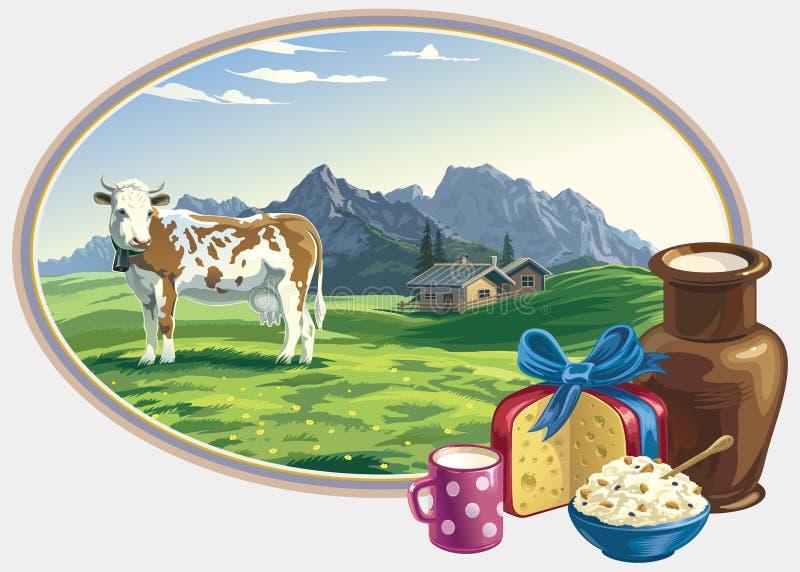 Wiejska krajobrazu i nabiału żywność. royalty ilustracja