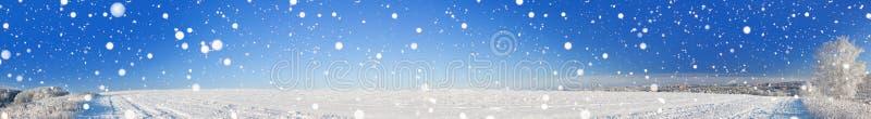 Wiejska zima krajobrazu panorama z polem, śnieg, las, miasto zdjęcia royalty free
